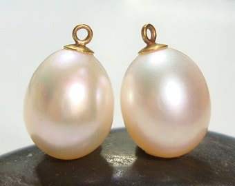 AAA Fresh water Pearl, Teardrop Briolette Pearl Dangle, Light Salmon Peach Cream, 18K Gold Sterling silver cup and peg, 13-14x8.5-9mm, 2 pcs