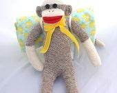 Sock Monkey Doll Bed, Sleeping Bag.  Yellow Duck Pattern