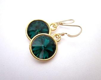 Green Swarovski Dangles -- Emerald Green Crystal Earrings -- Emerald Swarovski Earrings --Dark Green Drop Dangles -Gold & Dark Green Earring