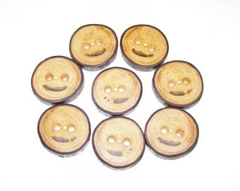 "8 Handmade  wood Tree Branch Buttons with Bark, accessories (1,02"" diameter x 0,20"" thick)"