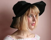 Christian Dior Chapeaux Straw Hat / Black Velvet Ribbon Hat / Wide Brim Sun Hat / Designer Late 1950's early 1960's Hat