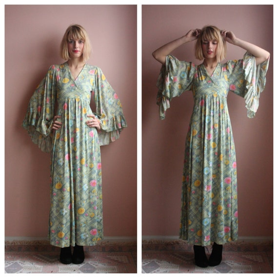 70s Angel Sleeves Maxi Dress / Haute Hippie Gown S/ Ethereal Spring Dress