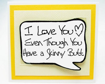 Funny Cards - Funny Couples Card . Anniversary Card for Him. Love You Card for Guys. Funny little Magnet Card. MN106