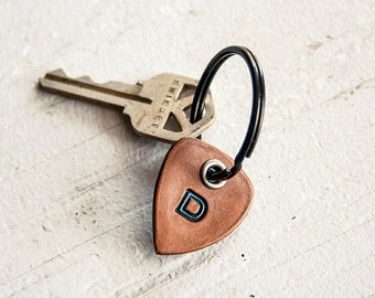 Leather Guitar Pick keychain- Personalize with your initial and colors - key ring, tag - hand cut - perfect for musicians and dad