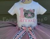 Custom Tutus..KITTY CAT LEOPARD, tutu set, 3,6,9,12,18 month and 2,3,4,5,6 years,first birthday, jungle, zoo, leopard tutu