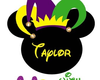 Mardi Gras with Mickey - Personalized IRON ON TRANSFER- Disney - Mardi Gras - Vacation