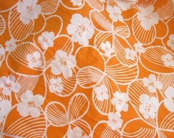 Bright Orange Hawaiian Vintage Floral Fabric Yardage Destash