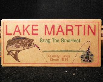 Lake Martin Alabama fishing lure boxes make great nostalgic lake house decorations