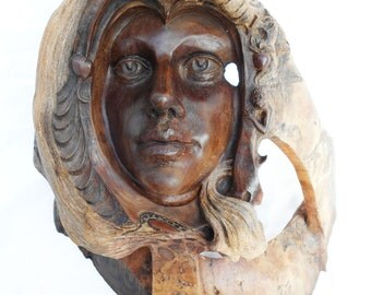 Eve and Adam Rick Cain Original Fine Art Hand Carved Wooden Spiritual Sculpture 2014