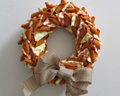 Candy Corn Wreath - Orange Burlap and Chevron Fabric Wreath - Fall Halloween Thanksgiving Wall Door Home Decor