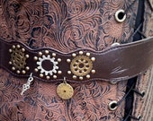 Upcycled Steampunk Belt - Dark Brown