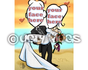Custom Wedding Newlywed Couple Two-Person Save-The-Date Caricature from Photos
