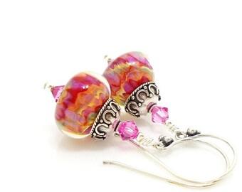 Colorful Earrings, Boro Earrings, Glass Earrings, Lampwork Earrings, Colorful Earrings, Beadwork Earrings, Pink Earrings, Dangle Earrings
