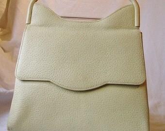 Vintage RARE 1960s J. Mas Valencia Espania Luster Yellow Greenish Handbag