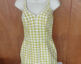 Vintage Catalina Green and White Gingham Check Swimsuit