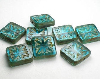 15mm Aqua Carved Square Beads Picasso Czech Glass Beads 8 Pcs. S-356