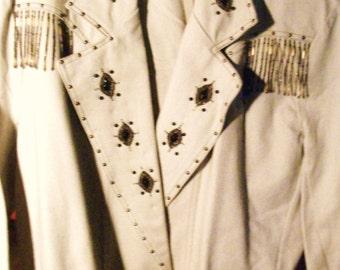 WOMEN'S JENJEN BEIGE denim embellished jacket