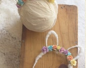 Springtime infant bunny ears headband