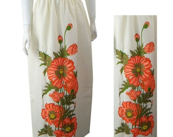 Vintage Alfred Shaheen Poppy Flower Maxi Skirt Long Hostess Skirt
