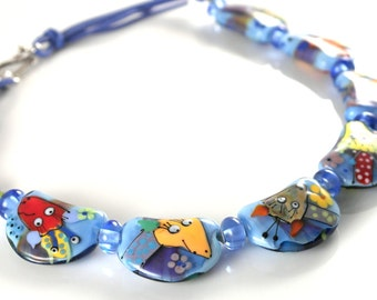 Giraffe necklace . Lampwork glass necklace artisan necklace. Artist made necklace, multicolor necklace, giraffe beads