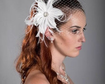 "Limited time sale for Birdcage veil 9"" or 12"" plus Feather Fascinator"