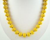 Bright Yellow Necklace Lemon Yellow Beaded Necklace Yellow Czech Glass Necklace Bright Yellow Bead Necklace Yellow Black Glass Strand