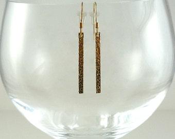 Gold Earrings Gold Filled Earrings Hammered Gold Earrings Minimalist Gold Earrings Gold Filled Drop Earrings Thin Gold Bar Dangle Earrings