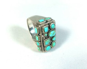 Turquoise Multi Stone Sterling Ring Marking 925
