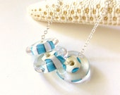 Lampwork Glass Necklace Aqua Blue White Striped Lampwork Disc, Sterling Silver Necklace, Ocean, Beach Jewelry, Christmas Gift, Under 40