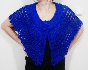 Spring wedding accessories royal blue hand knit capelet shawl bridesmaids gift blue wedding blue shawl