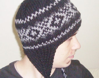 Wool Knit Women's Hat Winter Hat with Earflap in Black, Grey Hand Knitted Hat Womens Gift