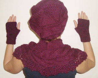 Purple Hat Scarf Gloves Set, Womens gift for her Hat Scarf Gloves Combo, Hand Knitted for mom unique