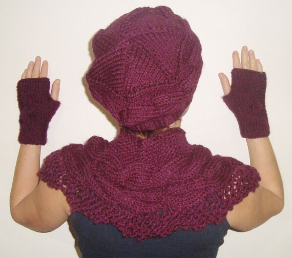 Autumn Womens Gift Set of 3 hat scarf gloves set combo in purple hand knit gift for her