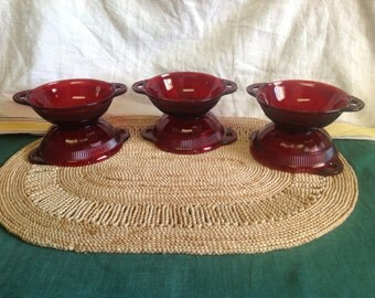 Vintage Anchor Hocking Royal Ruby Red Coronation Berry Fruit Bowl 6 Piece Set