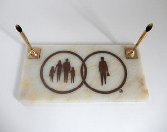 Mid Century 1960's Marble Corporate Businessman & Family Double Pen Holder