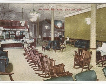 Lobby Interior West Hotel Sioux City Iowa 1912 postcard