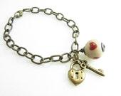 Heart Lock and Key Bracelet Aged Brass Artisan Ceramic Heart Bracelet Lock and Key Jewelry Valentines Gift For Her Love Bracelet