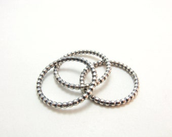 Simple Beaded Stacking Ring Sterling Silver Stacking Ring Beaded Ring Band Simple Sterling Silver Ring Band