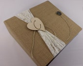 BABY MEMORY BOOK Baby Book Girl baby book Burlap baby book Rustic baby book Scrapbook Baby Album Shower Gift Pregnancy Journal Ivory Lace B
