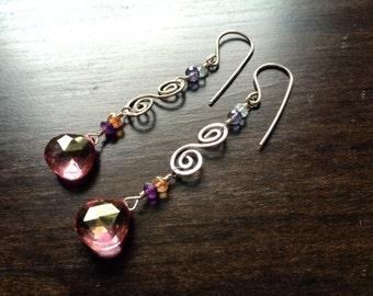 """Pink Quartz, Amethyst, Aquamarine, Andalusite, Sterling Silver Dangle Earrings - """"Sakura"""""""