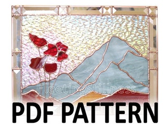 PDF Pattern for Stained Glass - Mountain Poppies FleetingStillness Original Design