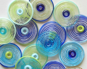 Lampwork Glass Disc Beads, FREE SHIPPING, Handmade Blue Turquoise Green Glass Spiral Beads - Rachelcartglass