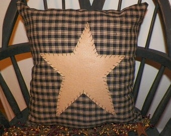 UNSTUFFED Primitive Pillow Cover Black Barn Star Prim Country Rustic Home Decor Decoration Stitchery Early Colonial Style wvluckygirl