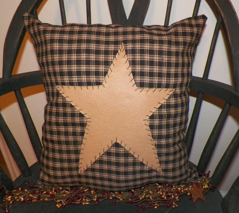 unstuffed primitive pillow cover black barn star prim country