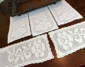 Cream Filet Crochet Table Runner and 2 Matching Doilies - Crocheted Table Scarf 11807