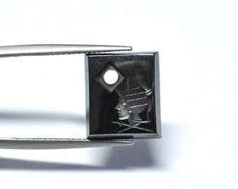 Vintage Natural Hematite Rectangle Conquistador Intaglio Pendant - 13.9 x 12.0 x 3.0 mm - 9.7 ct - 150203-28