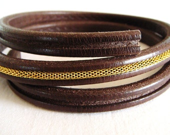 Licorice Dark Brown Oval Leather Cord 6.8x9.8mm with Groove, Greek leather Cord, 7 1/2 inches/19cm - 1 piece