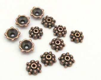 20 pieces Bead caps - Tibetan floral design copper plated bead caps 8 mm size - BD686