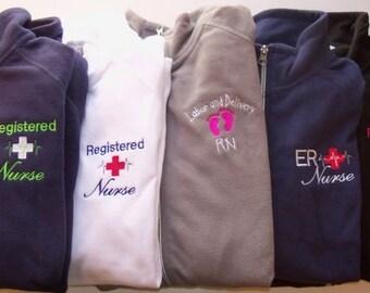 Personalized Fleece Jacket Nurse Registered ER OB Nicu Pediatrics Ortho Tech
