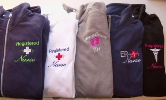 Personalized Fleece Jacket Nurse Registered ER OB Nicu